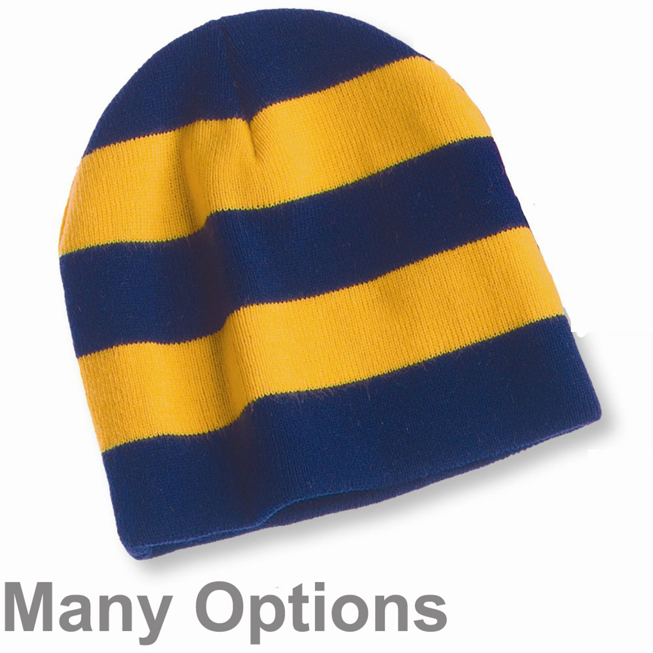 c55523eb49b Unisex Knit Collegiate Rugby Stripe Winter Beanie Hat - Assorted Colors
