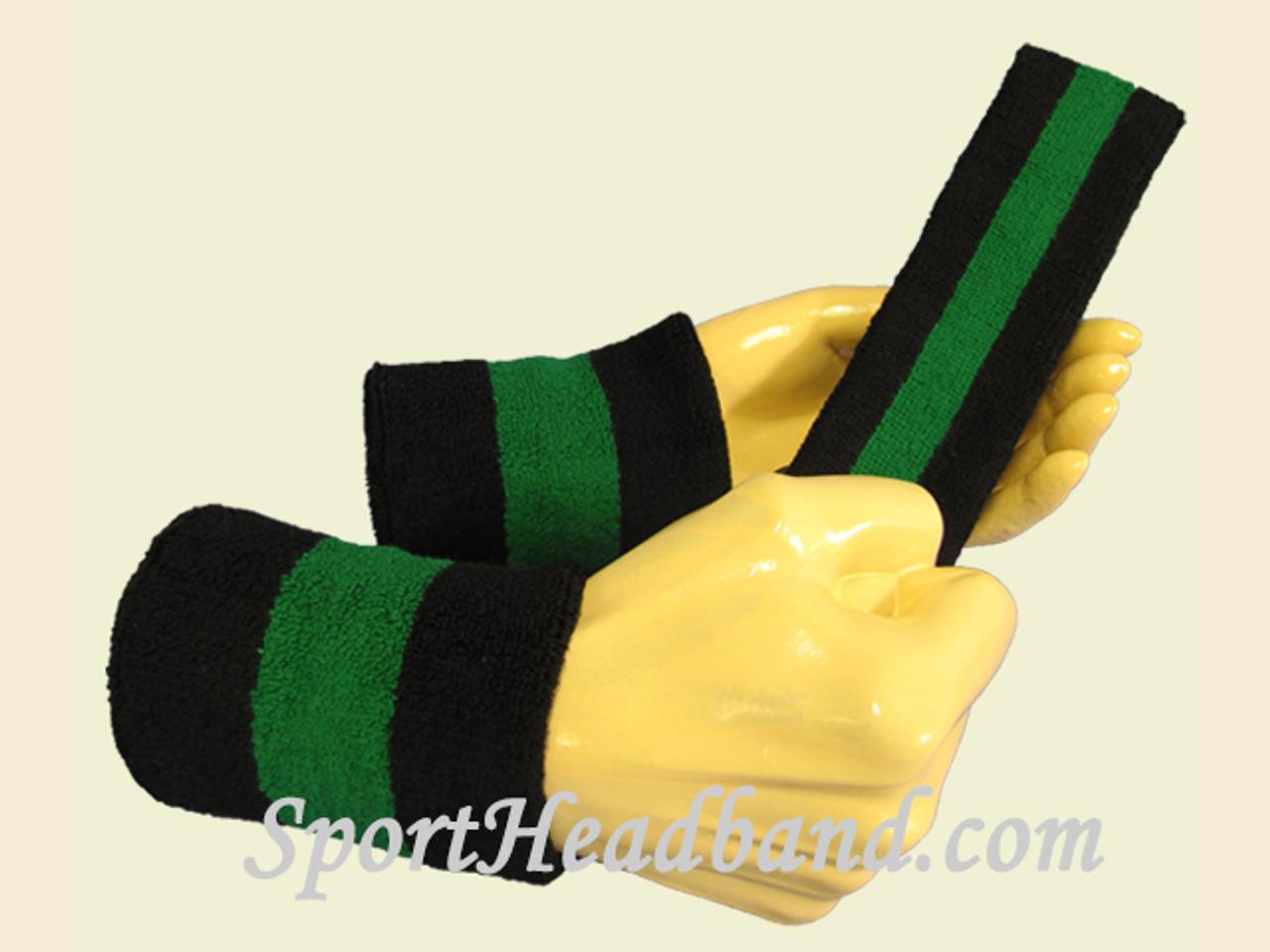 67bd7fb70681 Black Green Black sports sweat headband wristbands Set - SportHeadband.com
