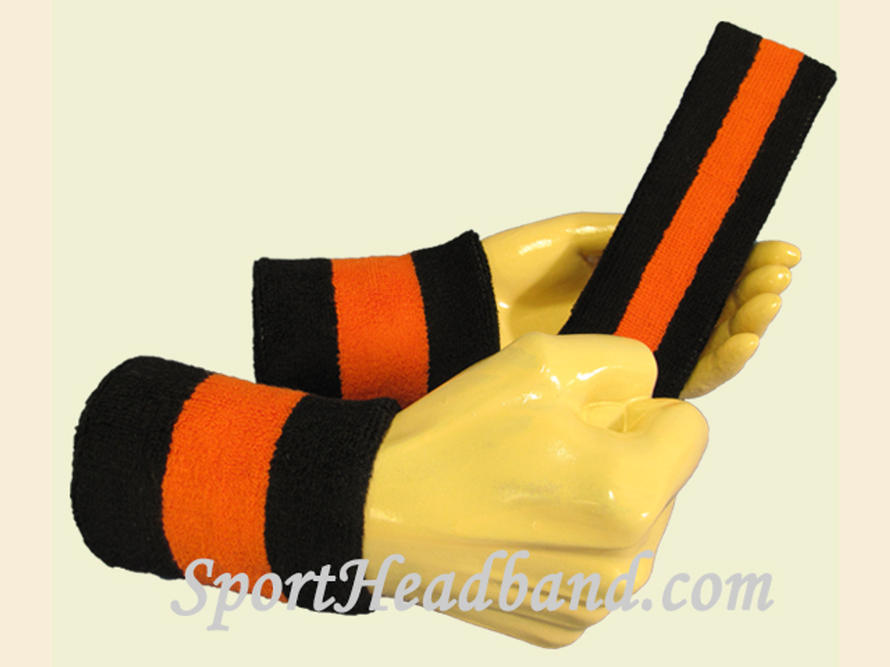 3a756027d62b Black Orange Black sports sweat headband wristbands Set - SportHeadband.com