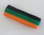 Black green light orange stripe terry sport headband for sweat