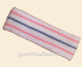 Pink sky blue pink lines in white tennis headband terry cloth