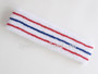 Red blue red lines in white tennis headband terry cloth