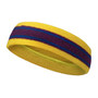 Yellow Purple with blue lines basketball headband pro