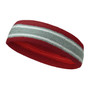 Dark Red silver light gray with white lines basketball headband