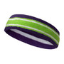 Dark purple lime green with white line basketball headband pro
