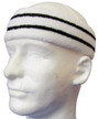 White basketball headband pro with 2 black stripes