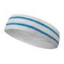 White basketball headband pro with 2 sky blue stripes