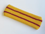 Golden Yellow basketball headband pro with 2 red stripes