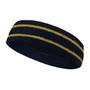 Navy basketball headband pro with 2 gold stripes