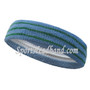 Steel blue with green lines tennis headband terry cloth