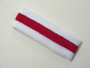 White red white striped terry tennis headband for sweat