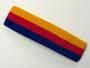 Golden yellow red blue striped headband sports pro