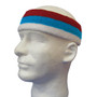 White sky blue red striped headband sports pro