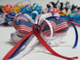American flag with ribbon strings hair bow w french clip