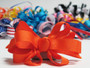 Orange grosgrain bowtie hair bow with french clip