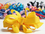 Yellow grosgrain bowtie hair bow with french clip