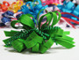 Bright green pearl bead strings hair bow w french clip