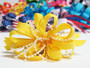 Yellow pearl bead strings hair bow w french clip