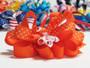 Orange twirl polka dot hair bow w french clip