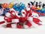 Red and white hair bow grosgrain ribbon w french clip