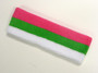 Bright pink bright green white striped sports sweat headband