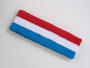 Red white skyble blue 3color striped headband for sports