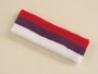Red purple white 3color striped headband for sports
