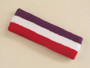 Purple white red 3color striped headband for sports