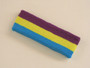 Purple bright yellow skyblue 3color striped headband for sports