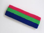 Hot pink bright green blue 3color striped headband for sports