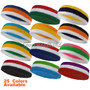 3 Colors with White Striped Sport Terry Cloth Head Sweatband(Many Colors)