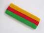 Golden yellow red bright green 3color striped headband for sport