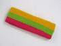 Golden yellow lime green hotpink 3color striped headband for spo