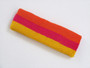 Dark orange hot pink golden yellow 3color striped headband for s