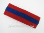 Red blue red striped terry sport headband for sweat