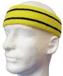 Bright yellow basketball headband pro with 2 black stripes