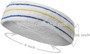 Blue Yellow Blue striped on White large tennis head sweatband