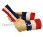 Blue White Red sports sweat headband 4inch wristbands set