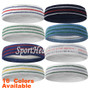 Premium Quality Standard Tennis Style Terry Cloth Sweat Headband with Lines(Many Colors)
