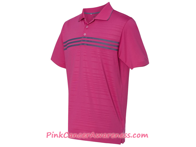 Adidas Pink Golf Men's Puremotion Climacool 3-Stripes Chest Polo Side View