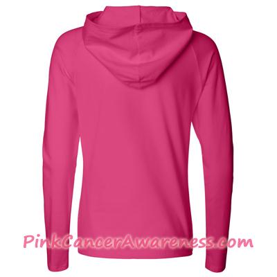 Hot Pink Ladies' Half-Zip Hooded Pullover Shirt Back View