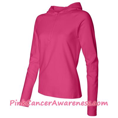 Hot Pink Ladies' Half-Zip Hooded Pullover Shirt Side View