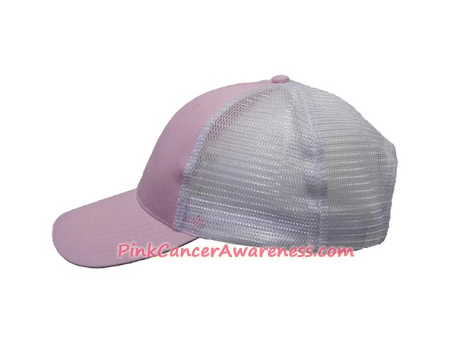 Pink Cancer Awareness Trucker Cap with White Polyester Mesh