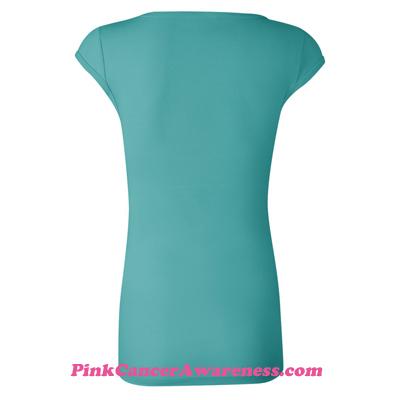 Teal Ladies' Sheer Mini Rib Scoopneck T-Shirt Back View
