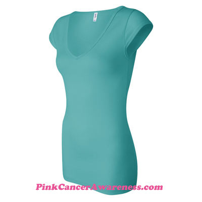Teal Ladies' Sheer Mini Rib Cap Sleeve V-Neck T-Shirt Side View