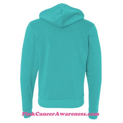 Teal Unisex Full-Zip Hooded Sweatshirt Back View