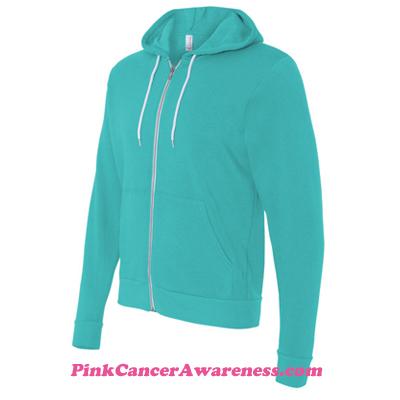 Teal Unisex Full-Zip Hooded Sweatshirt Side View