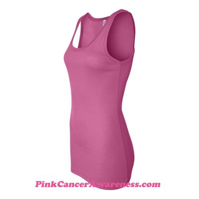 Very Pink Ladies' Sheer Mini Rib Tank Top Side View