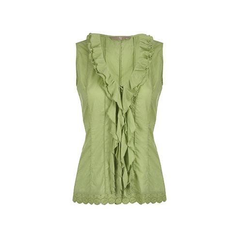 Sleeveless Green Blouse for Women