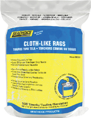 SEACHOICE 50-90021 RAGS-IN-A-RESEALABLE BAG 100CT